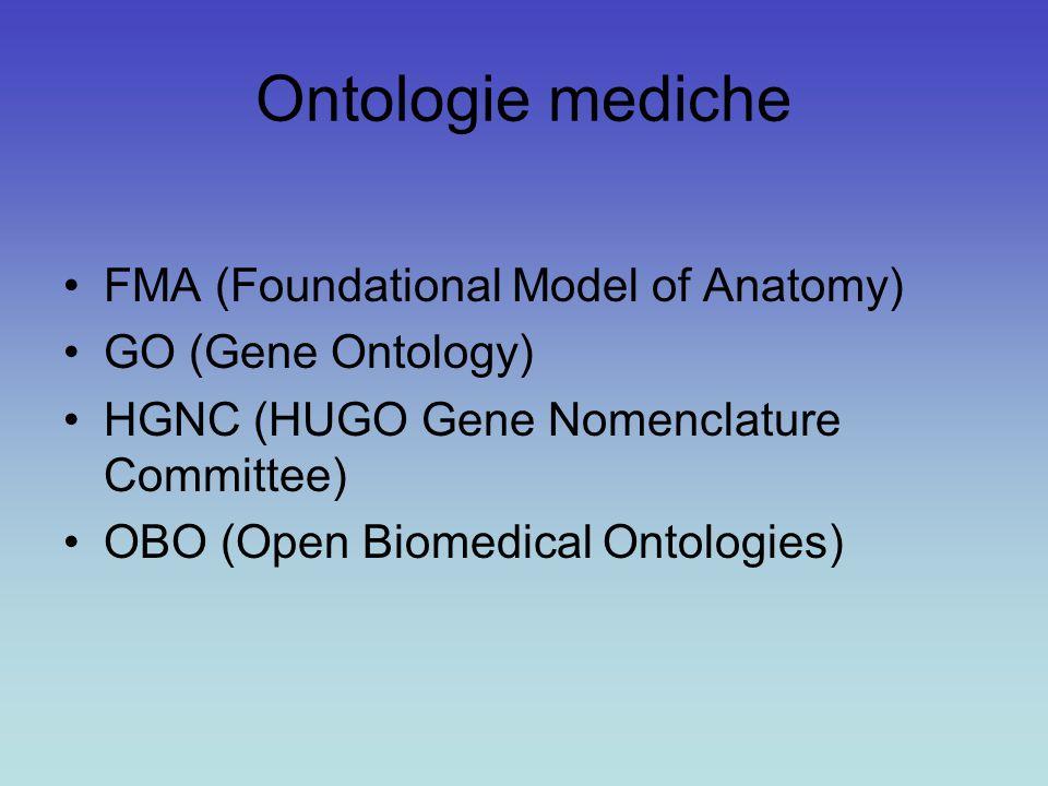 Ontologie mediche FMA (Foundational Model of Anatomy) GO (Gene Ontology) HGNC (HUGO Gene Nomenclature Committee) OBO (Open Biomedical Ontologies)