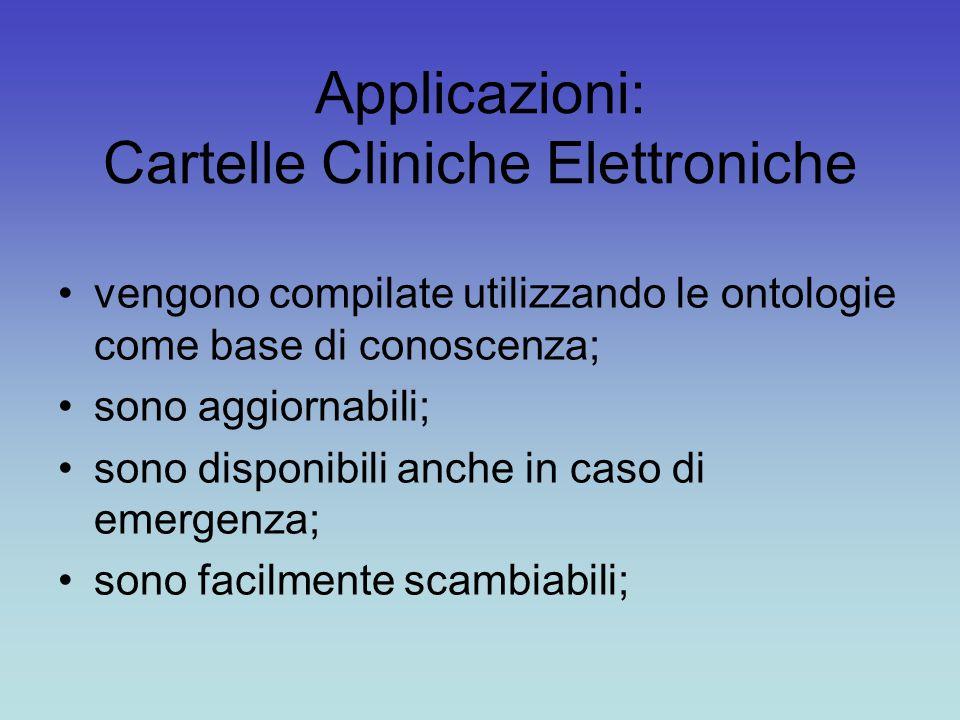 Applicazioni: Cartelle Cliniche Elettroniche vengono compilate utilizzando le ontologie come base di conoscenza; sono aggiornabili; sono disponibili anche in caso di emergenza; sono facilmente scambiabili;