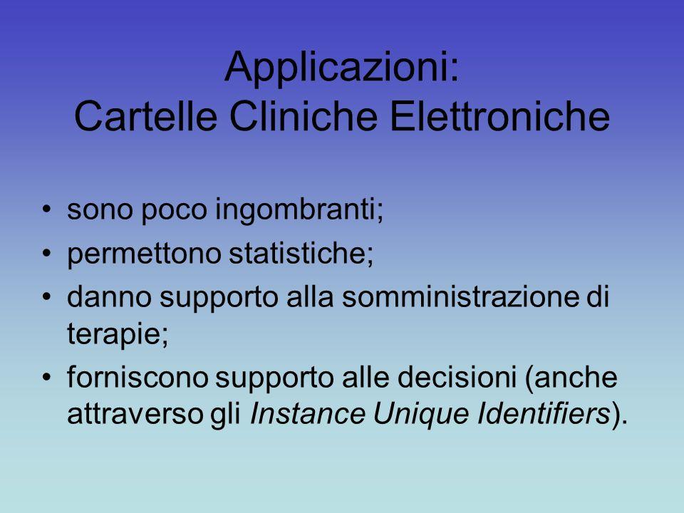 Applicazioni: Cartelle Cliniche Elettroniche sono poco ingombranti; permettono statistiche; danno supporto alla somministrazione di terapie; forniscono supporto alle decisioni (anche attraverso gli Instance Unique Identifiers).
