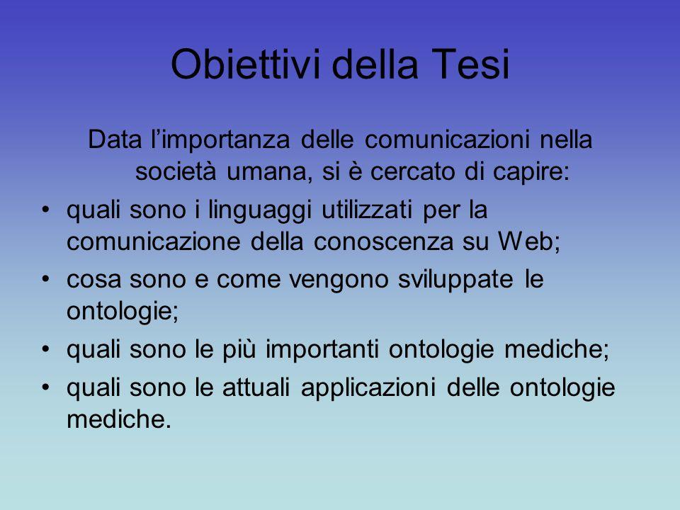 Obiettivi della Tesi Data l'importanza delle comunicazioni nella società umana, si è cercato di capire: quali sono i linguaggi utilizzati per la comun