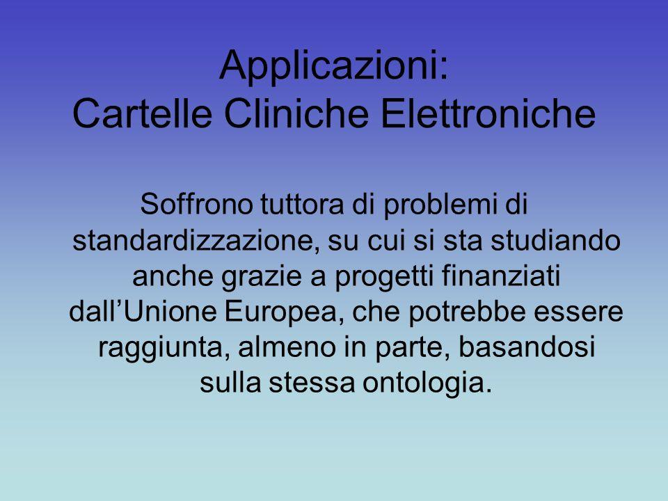 Applicazioni: Cartelle Cliniche Elettroniche Soffrono tuttora di problemi di standardizzazione, su cui si sta studiando anche grazie a progetti finanziati dall'Unione Europea, che potrebbe essere raggiunta, almeno in parte, basandosi sulla stessa ontologia.