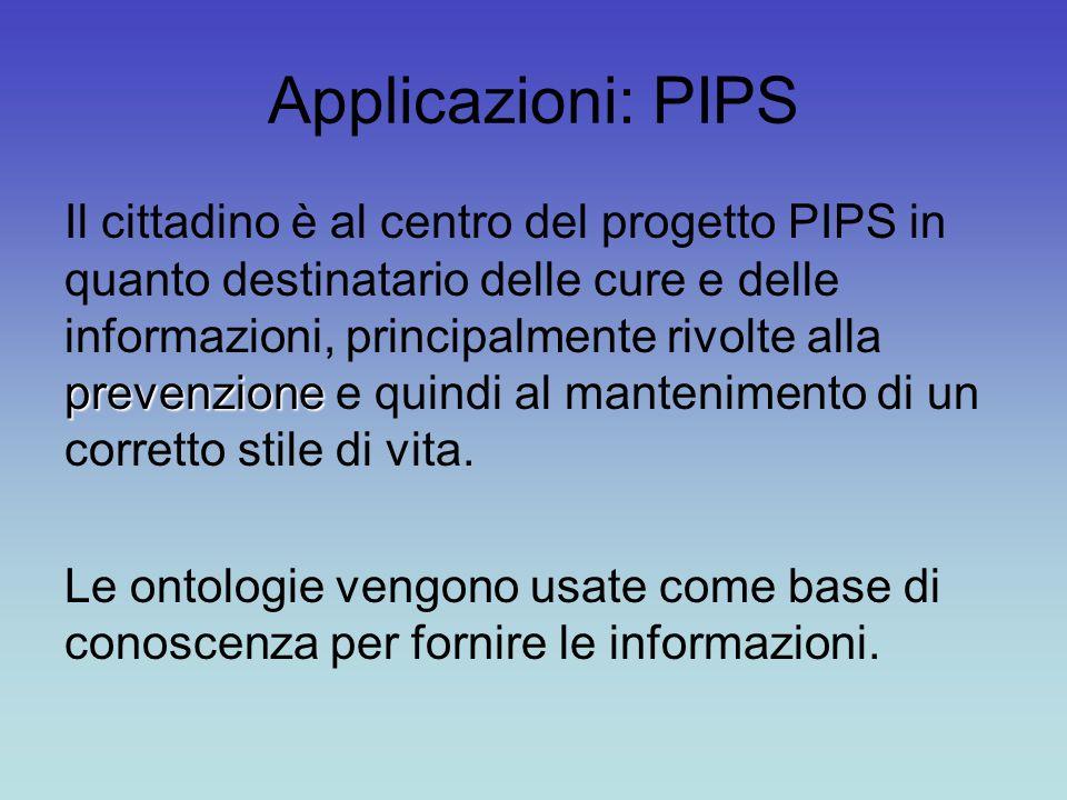 Applicazioni: PIPS prevenzione Il cittadino è al centro del progetto PIPS in quanto destinatario delle cure e delle informazioni, principalmente rivolte alla prevenzione e quindi al mantenimento di un corretto stile di vita.
