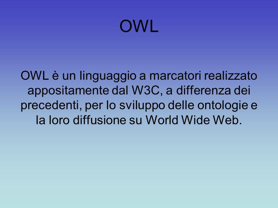 OWL OWL è un linguaggio a marcatori realizzato appositamente dal W3C, a differenza dei precedenti, per lo sviluppo delle ontologie e la loro diffusione su World Wide Web.