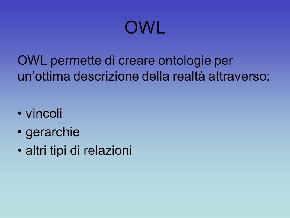 OWL OWL permette di creare ontologie per un'ottima descrizione della realtà attraverso: vincoli gerarchie altri tipi di relazioni