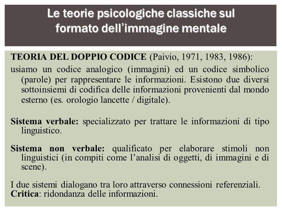 Le teorie psicologiche classiche sul formato dell'immagine mentale TEORIA DEL DOPPIO CODICE (Paivio, 1971, 1983, 1986): usiamo un codice analogico (im