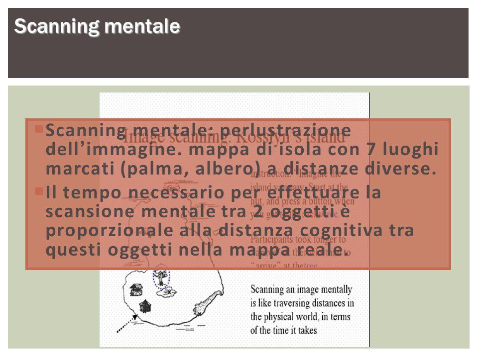 Scanning mentale  Scanning mentale: perlustrazione dell'immagine. mappa di isola con 7 luoghi marcati (palma, albero) a distanze diverse.  Il tempo