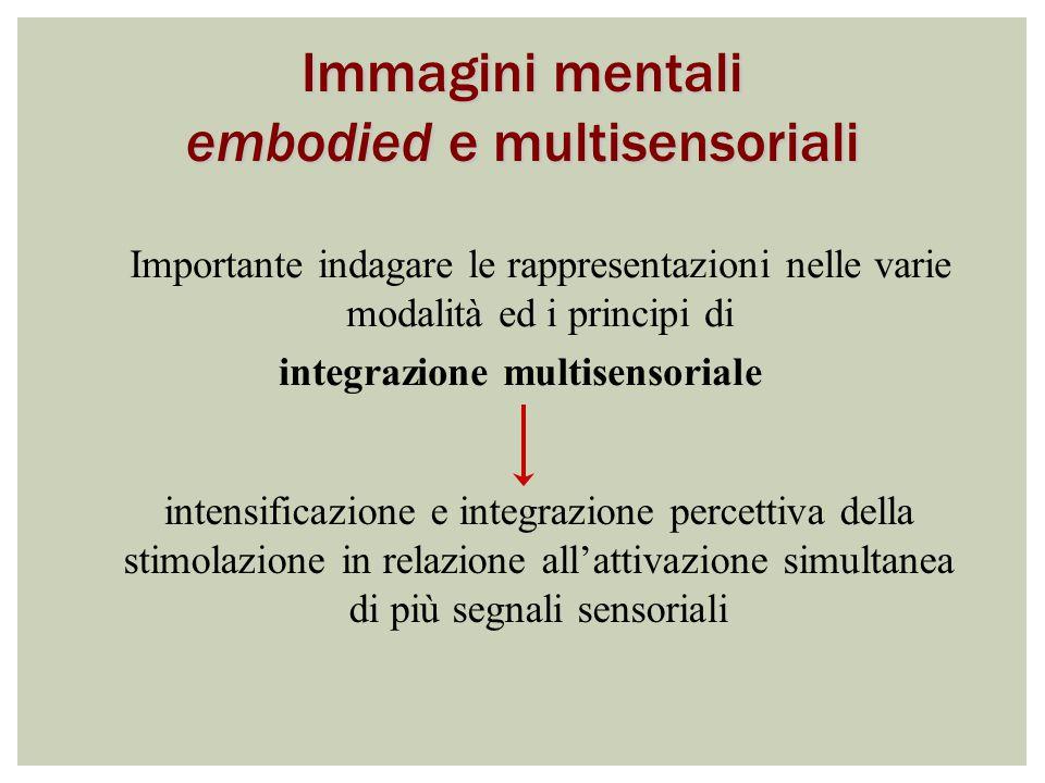 Importante indagare le rappresentazioni nelle varie modalità ed i principi di integrazione multisensoriale intensificazione e integrazione percettiva