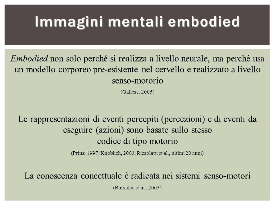 Embodied non solo perché si realizza a livello neurale, ma perché usa un modello corporeo pre-esistente nel cervello e realizzato a livello senso-moto