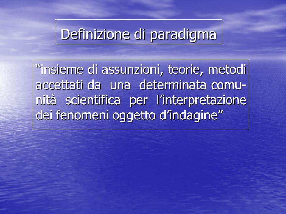 Definizione di paradigma insieme di assunzioni, teorie, metodi accettati da una determinata comu- nità scientifica per l'interpretazione dei fenomeni oggetto d'indagine