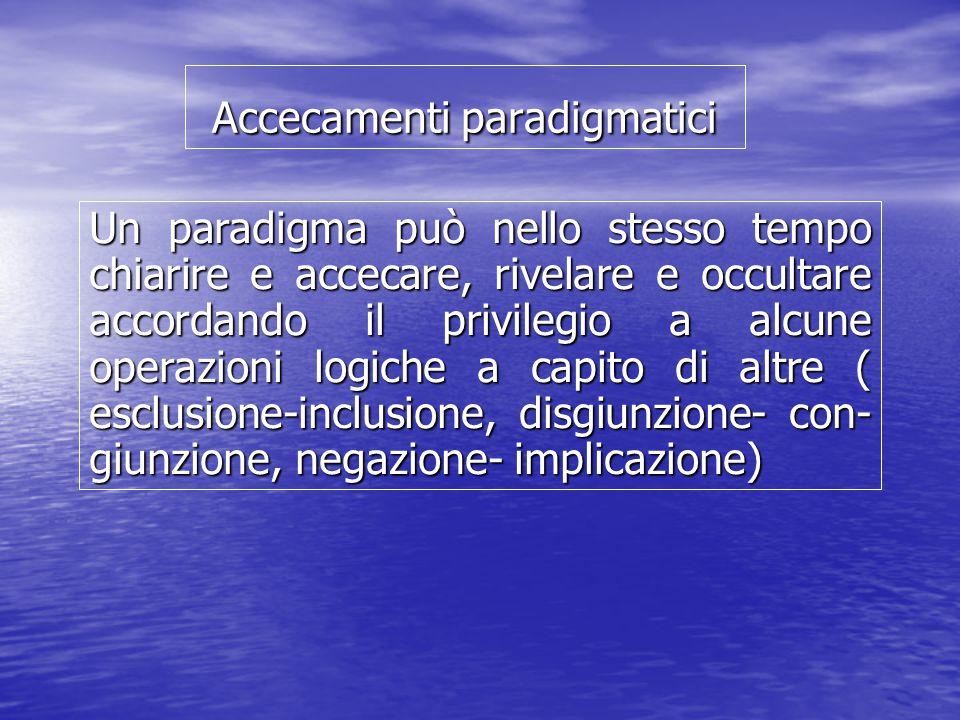 Accecamenti paradigmatici Un paradigma può nello stesso tempo chiarire e accecare, rivelare e occultare accordando il privilegio a alcune operazioni logiche a capito di altre ( esclusione-inclusione, disgiunzione- con- giunzione, negazione- implicazione)