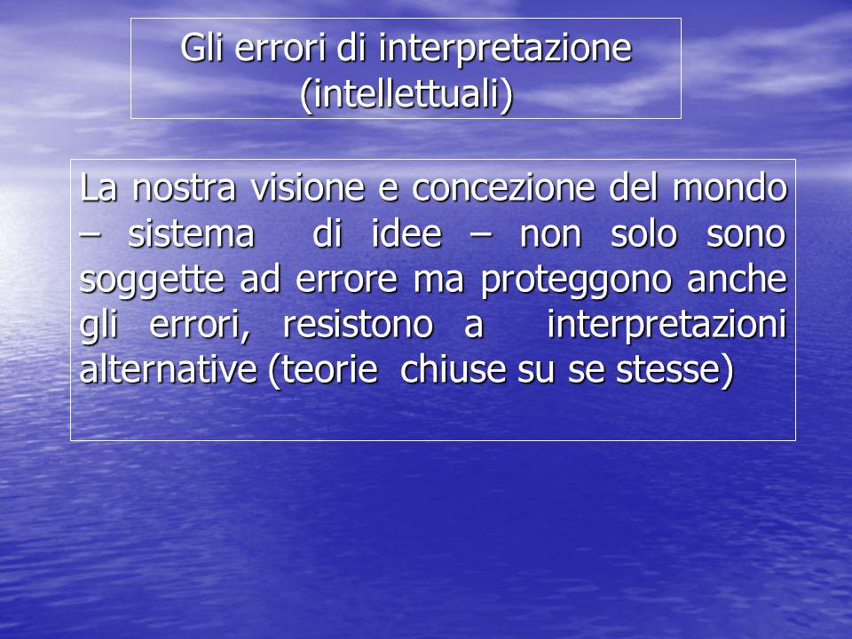 Gli errori di interpretazione (intellettuali) La nostra visione e concezione del mondo – sistema di idee – non solo sono soggette ad errore ma proteggono anche gli errori, resistono a interpretazioni alternative (teorie chiuse su se stesse)