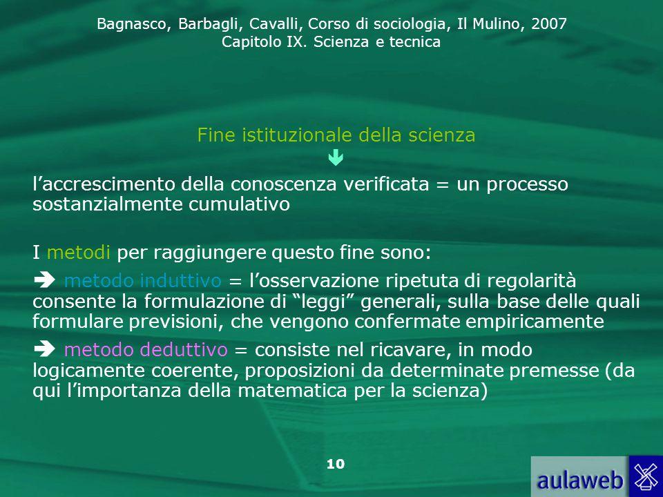 Bagnasco, Barbagli, Cavalli, Corso di sociologia, Il Mulino, 2007 Capitolo IX. Scienza e tecnica 10 Fine istituzionale della scienza  l'accrescimento