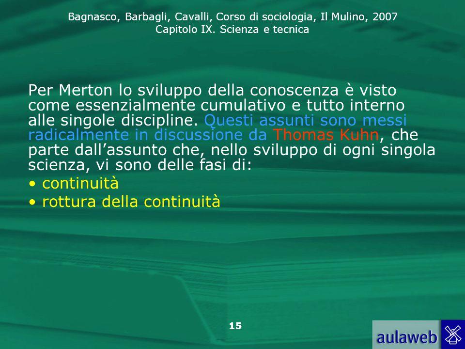 Bagnasco, Barbagli, Cavalli, Corso di sociologia, Il Mulino, 2007 Capitolo IX. Scienza e tecnica 15 Per Merton lo sviluppo della conoscenza è visto co