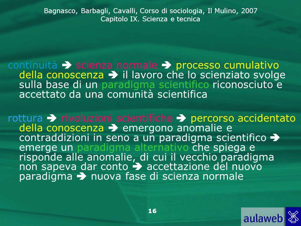 Bagnasco, Barbagli, Cavalli, Corso di sociologia, Il Mulino, 2007 Capitolo IX. Scienza e tecnica 16 continuità  scienza normale  processo cumulativo