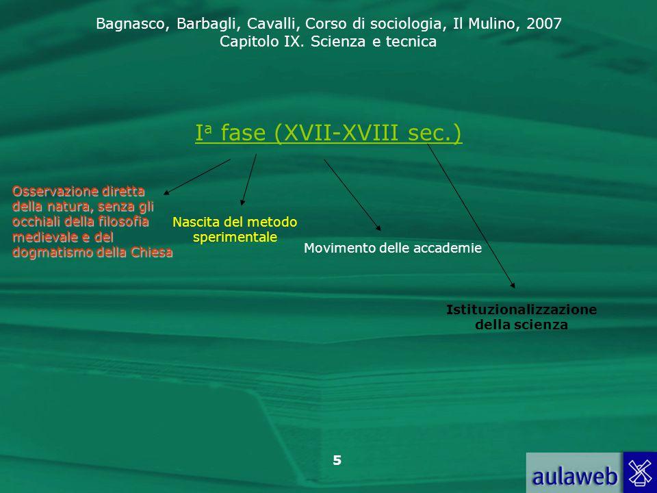 Bagnasco, Barbagli, Cavalli, Corso di sociologia, Il Mulino, 2007 Capitolo IX. Scienza e tecnica 5 I a fase (XVII-XVIII sec.) Osservazione diretta del