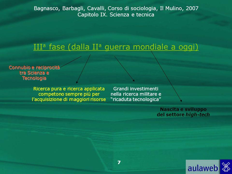 Bagnasco, Barbagli, Cavalli, Corso di sociologia, Il Mulino, 2007 Capitolo IX. Scienza e tecnica 7 III a fase (dalla II a guerra mondiale a oggi) Conn