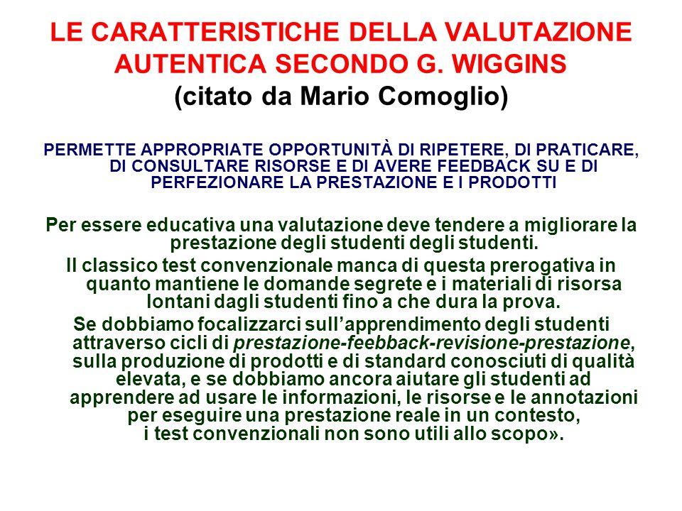 LE CARATTERISTICHE DELLA VALUTAZIONE AUTENTICA SECONDO G. WIGGINS (citato da Mario Comoglio) PERMETTE APPROPRIATE OPPORTUNITÀ DI RIPETERE, DI PRATICAR