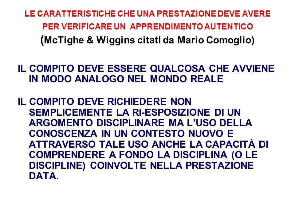 LE CARATTERISTICHE CHE UNA PRESTAZIONE DEVE AVERE PER VERIFICARE UN APPRENDIMENTO AUTENTICO ( McTighe & Wiggins citatI da Mario Comoglio) IL COMPITO D