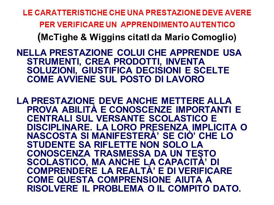 LE CARATTERISTICHE CHE UNA PRESTAZIONE DEVE AVERE PER VERIFICARE UN APPRENDIMENTO AUTENTICO ( McTighe & Wiggins citatI da Mario Comoglio) NELLA PRESTA