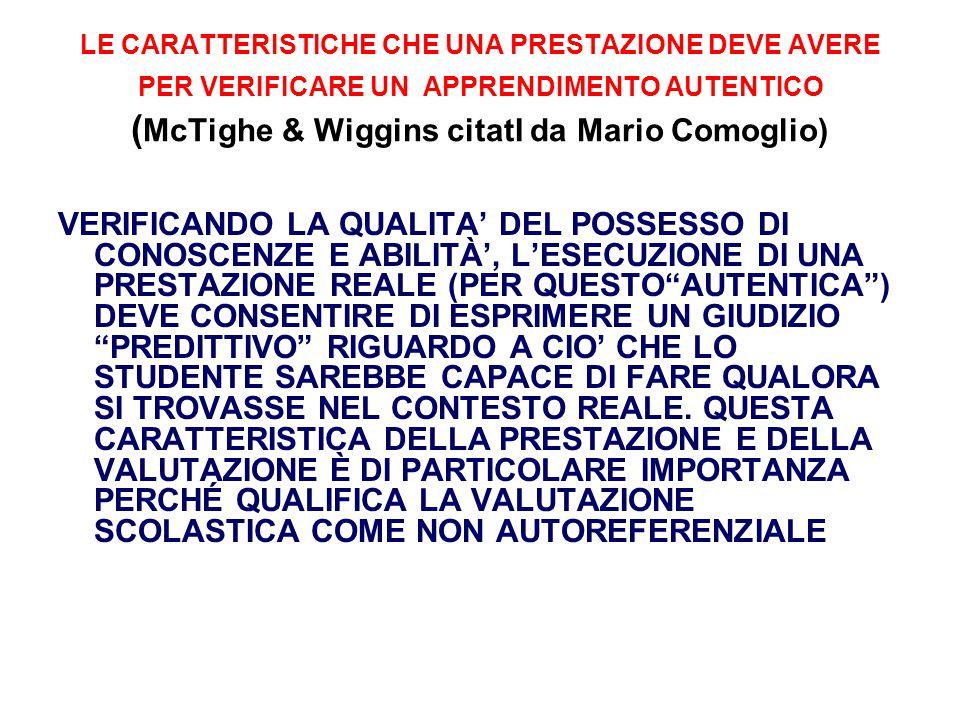 LE CARATTERISTICHE CHE UNA PRESTAZIONE DEVE AVERE PER VERIFICARE UN APPRENDIMENTO AUTENTICO ( McTighe & Wiggins citatI da Mario Comoglio) VERIFICANDO