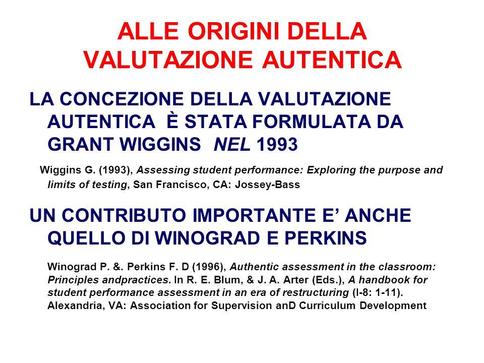 ALLE ORIGINI DELLA VALUTAZIONE AUTENTICA LA CONCEZIONE DELLA VALUTAZIONE AUTENTICA È STATA FORMULATA DA GRANT WIGGINS NEL 1993 Wiggins G. (1993), Asse