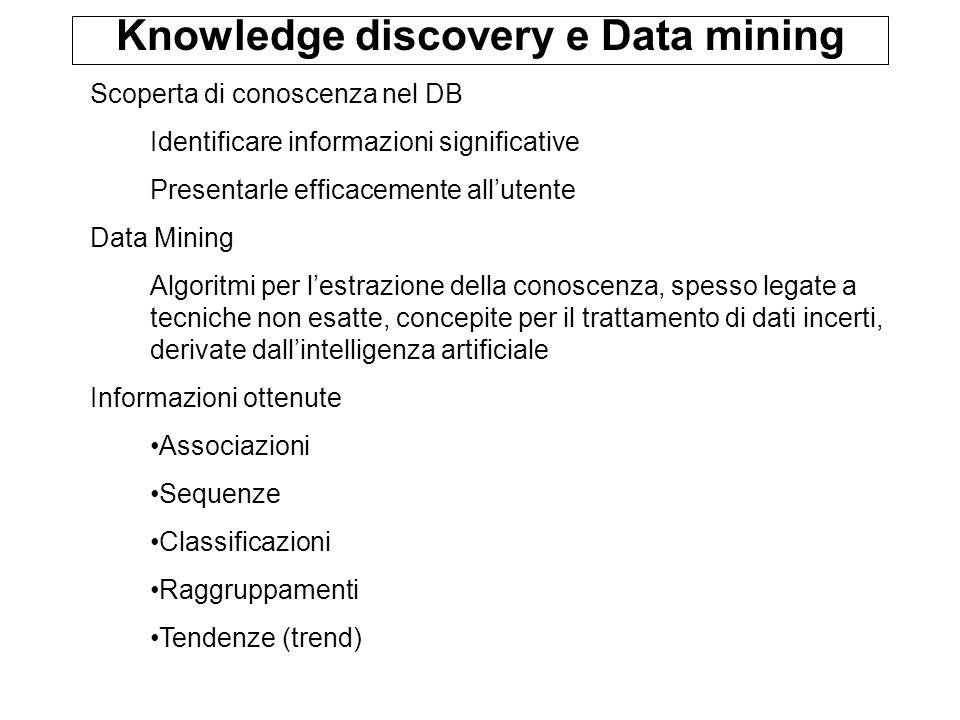 Knowledge discovery e Data mining Scoperta di conoscenza nel DB Identificare informazioni significative Presentarle efficacemente all'utente Data Mini