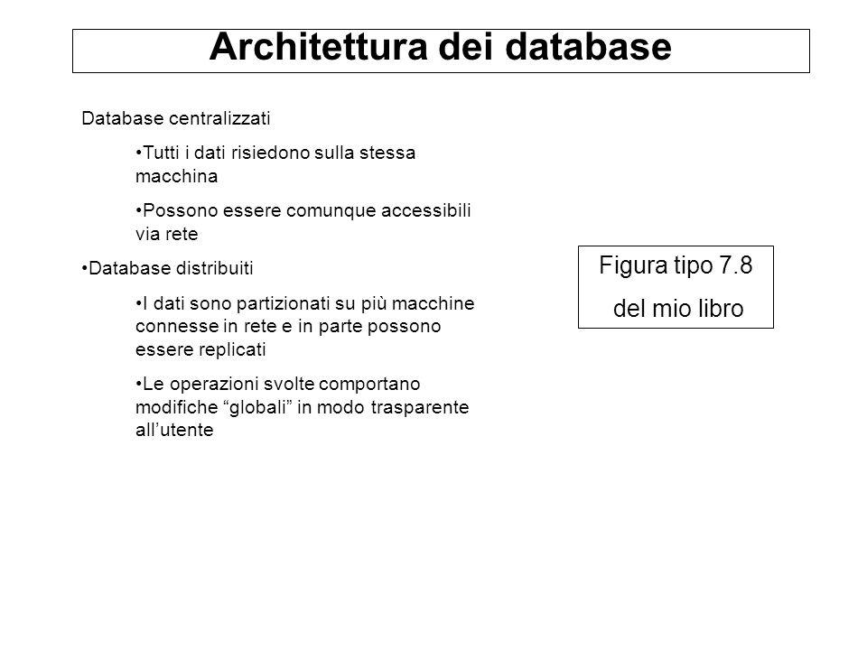 Architettura dei database Database centralizzati Tutti i dati risiedono sulla stessa macchina Possono essere comunque accessibili via rete Database di