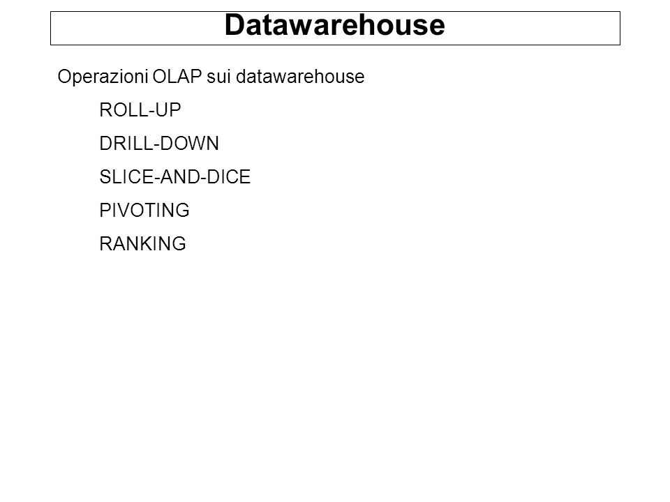 Datawarehouse Operazioni OLAP sui datawarehouse ROLL-UP DRILL-DOWN SLICE-AND-DICE PIVOTING RANKING