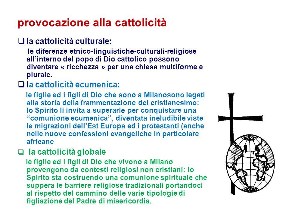 provocazione alla cattolicità  la cattolicità culturale: le diferenze etnico-linguistiche-culturali-religiose all'interno del popo di Dio cattolico possono diventare « ricchezza » per una chiesa multiforme e plurale.