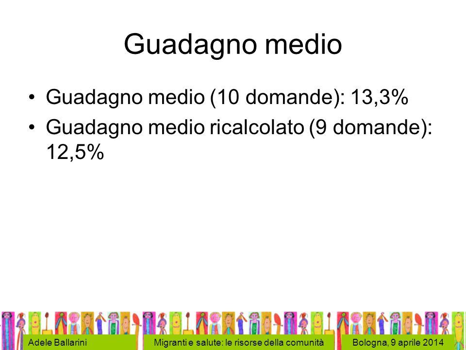 Bologna, 9 aprile 2014Adele BallariniMigranti e salute: le risorse della comunità Guadagno medio Guadagno medio (10 domande): 13,3% Guadagno medio ricalcolato (9 domande): 12,5%
