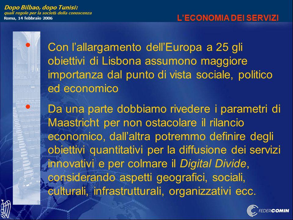 Dopo Bilbao, dopo Tunisi: quali regole per la societ à della conoscenza Roma, 14 febbraio 2006 L'ECONOMIA DEI SERVIZI Con l'allargamento dell'Europa a 25 gli obiettivi di Lisbona assumono maggiore importanza dal punto di vista sociale, politico ed economico Da una parte dobbiamo rivedere i parametri di Maastricht per non ostacolare il rilancio economico, dall'altra potremmo definire degli obiettivi quantitativi per la diffusione dei servizi innovativi e per colmare il Digital Divide, considerando aspetti geografici, sociali, culturali, infrastrutturali, organizzativi ecc.