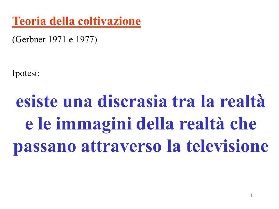 11 Teoria della coltivazione (Gerbner 1971 e 1977) Ipotesi: esiste una discrasia tra la realtà e le immagini della realtà che passano attraverso la televisione