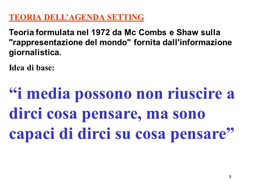 8 TEORIA DELL'AGENDA SETTING Teoria formulata nel 1972 da Mc Combs e Shaw sulla rappresentazione del mondo fornita dall informazione giornalistica.