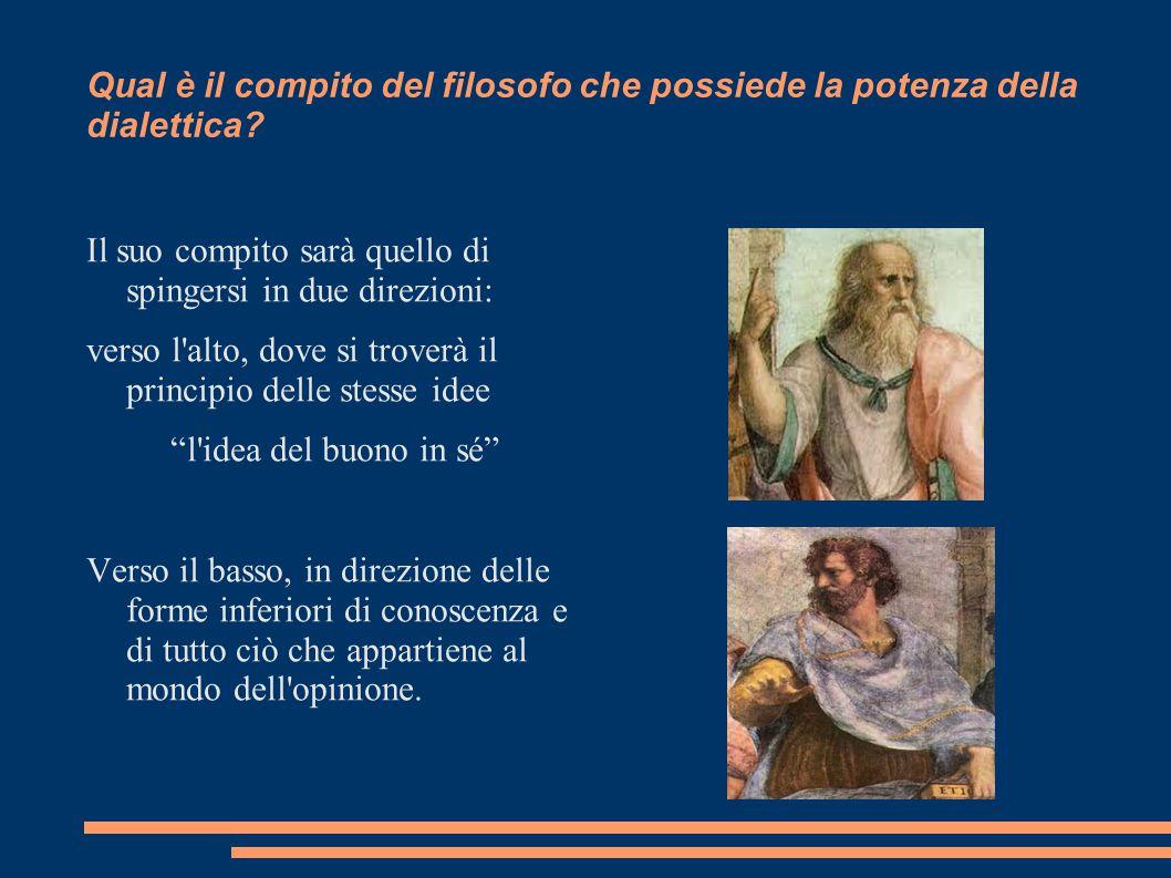 Qual è il compito del filosofo che possiede la potenza della dialettica? Il suo compito sarà quello di spingersi in due direzioni: verso l'alto, dove