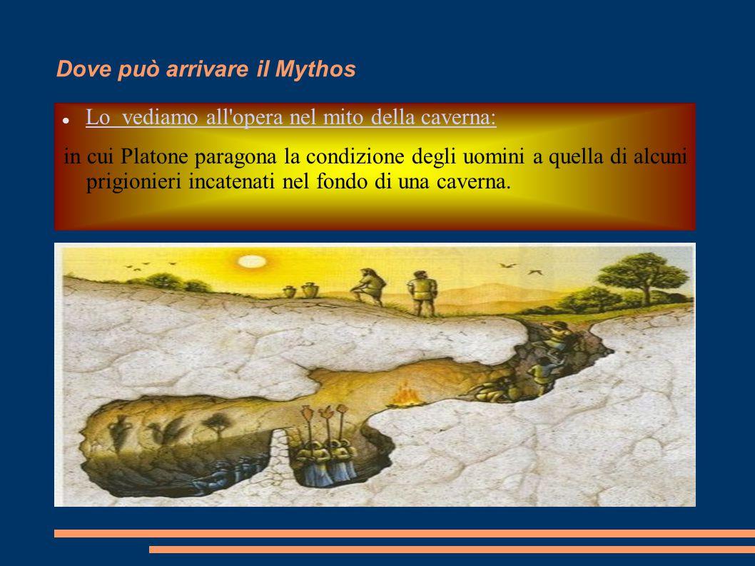 Dove può arrivare il Mythos Lo vediamo all'opera nel mito della caverna: in cui Platone paragona la condizione degli uomini a quella di alcuni prigion