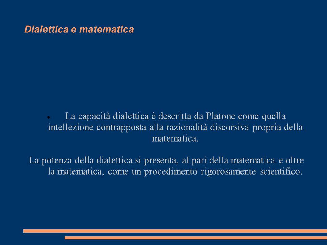 Dialettica e matematica La capacità dialettica è descritta da Platone come quella intellezione contrapposta alla razionalità discorsiva propria della