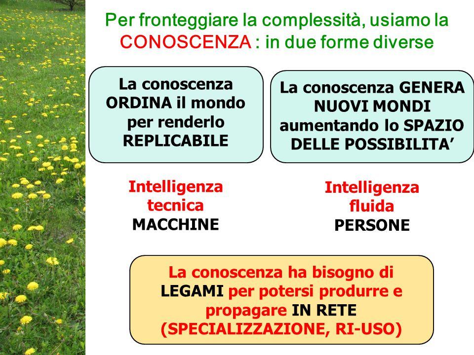 Per fronteggiare la complessità, usiamo la CONOSCENZA : in due forme diverse La conoscenza ORDINA il mondo per renderlo REPLICABILE La conoscenza GENERA NUOVI MONDI aumentando lo SPAZIO DELLE POSSIBILITA' La conoscenza ha bisogno di LEGAMI per potersi produrre e propagare IN RETE (SPECIALIZZAZIONE, RI-USO) Intelligenza tecnica MACCHINE Intelligenza fluida PERSONE