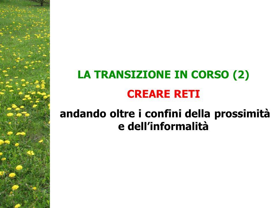 LA TRANSIZIONE IN CORSO (2) CREARE RETI andando oltre i confini della prossimità e dell'informalità