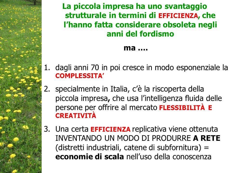1.dagli anni 70 in poi cresce in modo esponenziale la COMPLESSITA' 2.specialmente in Italia, c'è la riscoperta della piccola impresa, che usa l'intelligenza fluida delle persone per offrire al mercato FLESSIBILITÀ E CREATIVITÀ 3.Una certa EFFICIENZA replicativa viene ottenuta INVENTANDO UN MODO DI PRODURRE A RETE (distretti industriali, catene di subfornitura) = economie di scala nell'uso della conoscenza La piccola impresa ha uno svantaggio strutturale in termini di EFFICIENZA, che l'hanno fatta considerare obsoleta negli anni del fordismo ma ….