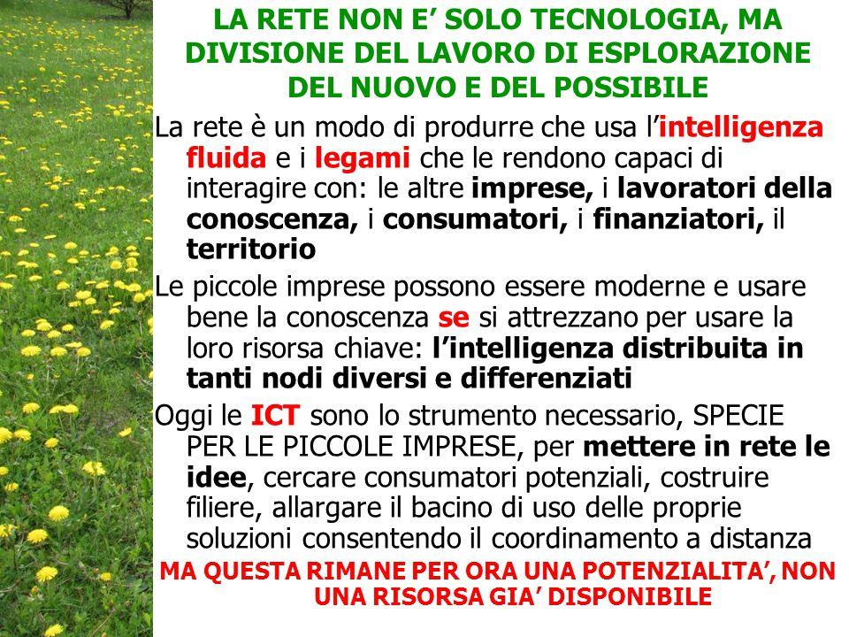 LA RETE NON E' SOLO TECNOLOGIA, MA DIVISIONE DEL LAVORO DI ESPLORAZIONE DEL NUOVO E DEL POSSIBILE La rete è un modo di produrre che usa l'intelligenza fluida e i legami che le rendono capaci di interagire con: le altre imprese, i lavoratori della conoscenza, i consumatori, i finanziatori, il territorio Le piccole imprese possono essere moderne e usare bene la conoscenza se si attrezzano per usare la loro risorsa chiave: l'intelligenza distribuita in tanti nodi diversi e differenziati Oggi le ICT sono lo strumento necessario, SPECIE PER LE PICCOLE IMPRESE, per mettere in rete le idee, cercare consumatori potenziali, costruire filiere, allargare il bacino di uso delle proprie soluzioni consentendo il coordinamento a distanza MA QUESTA RIMANE PER ORA UNA POTENZIALITA', NON UNA RISORSA GIA' DISPONIBILE