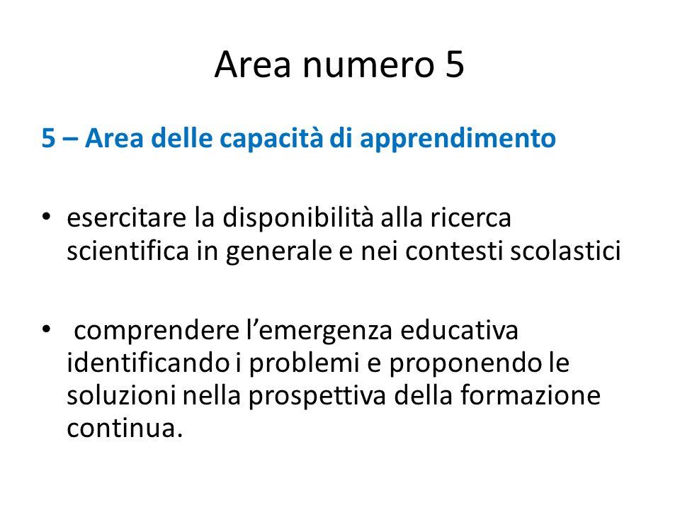 Area numero 5 5 – Area delle capacità di apprendimento esercitare la disponibilità alla ricerca scientifica in generale e nei contesti scolastici comprendere l'emergenza educativa identificando i problemi e proponendo le soluzioni nella prospettiva della formazione continua.