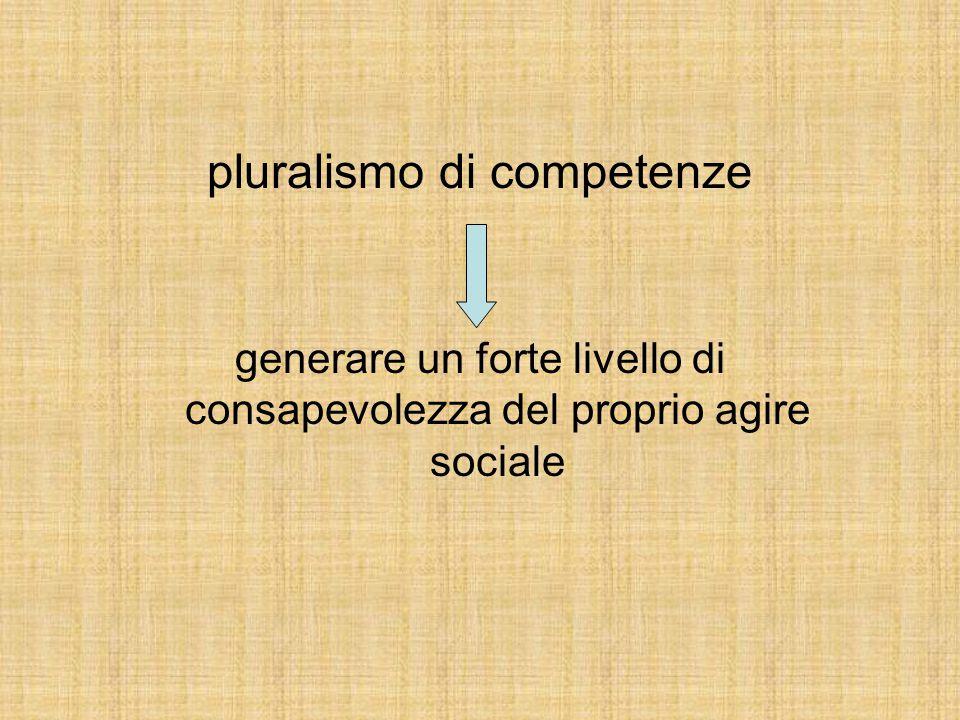 pluralismo di competenze generare un forte livello di consapevolezza del proprio agire sociale