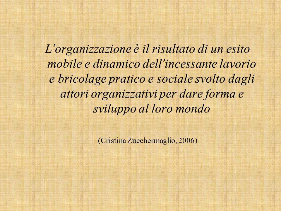 L ' organizzazione è il risultato di un esito mobile e dinamico dell ' incessante lavorio e bricolage pratico e sociale svolto dagli attori organizzativi per dare forma e sviluppo al loro mondo (Cristina Zucchermaglio, 2006)
