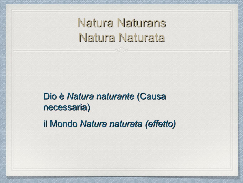 Natura Naturans Natura Naturata Dio è Natura naturante (Causa necessaria) il Mondo Natura naturata (effetto)