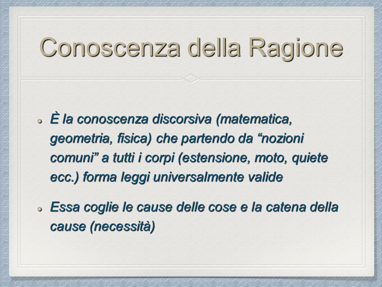 """Conoscenza della Ragione È la conoscenza discorsiva (matematica, geometria, fisica) che partendo da """"nozioni comuni"""" a tutti i corpi (estensione, moto"""