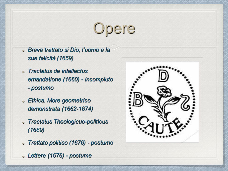 Opere Breve trattato si Dio, l'uomo e la sua felicità (1659) Tractatus de intellectus emandatione (1660) - incompiuto - postumo Ethica. More geometric