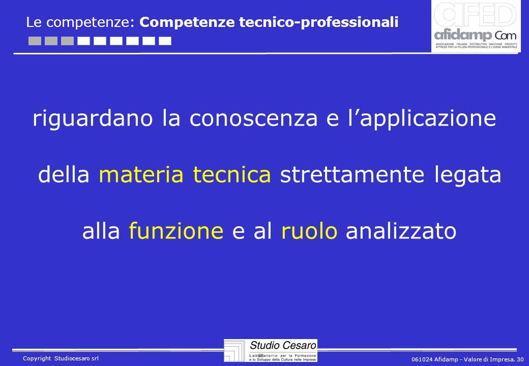 061024 Afidamp - Valore di Impresa. 30 Copyright Studiocesaro srl Le competenze: Competenze tecnico-professionali riguardano la conoscenza e l'applica
