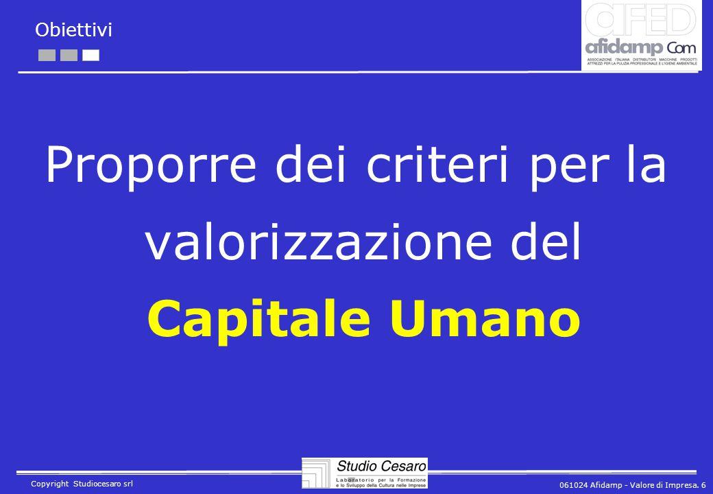 061024 Afidamp - Valore di Impresa. 6 Copyright Studiocesaro srl Obiettivi Proporre dei criteri per la valorizzazione del Capitale Umano