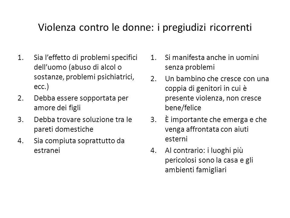 Violenza contro le donne: i pregiudizi ricorrenti 1.Sia l'effetto di problemi specifici dell'uomo (abuso di alcol o sostanze, problemi psichiatrici, e