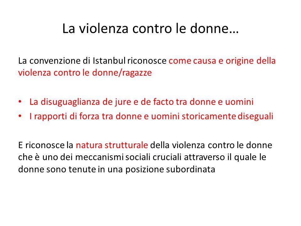 La violenza contro le donne… La convenzione di Istanbul riconosce come causa e origine della violenza contro le donne/ragazze La disuguaglianza de jur